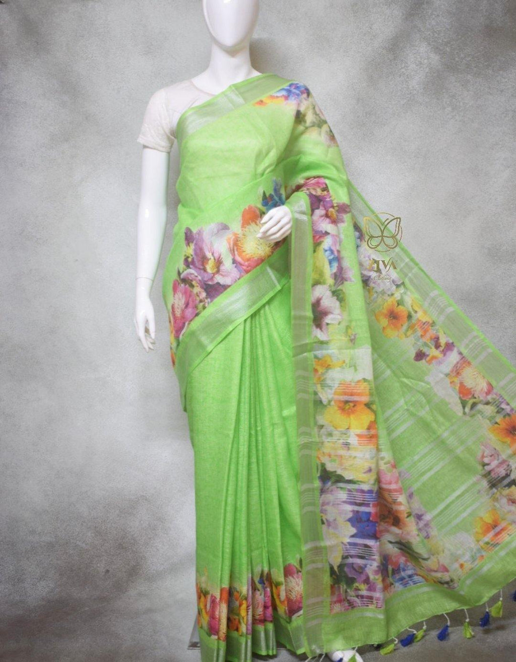Eugenie - Pure Linen Saree with Digital Prints