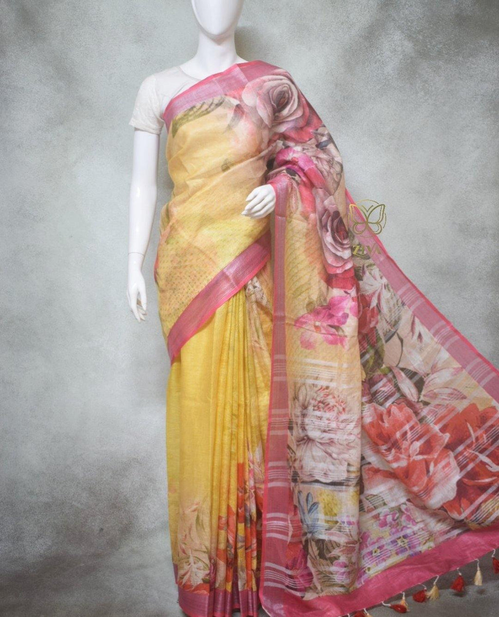 Eira - Pure Linen Saree with Digital Prints
