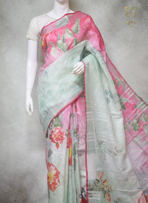 Millie - Pure Linen Saree with Digital Prints