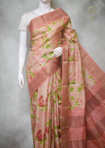 Rizwaan - Hand Block Printed Zari Border Tussar Silk Saree