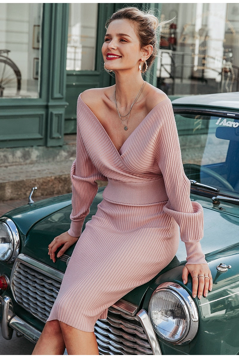 V-neck Knitted Two Piece Dress