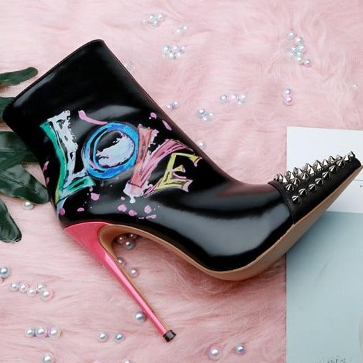Genuine Leather Graffiti Ankle Boots