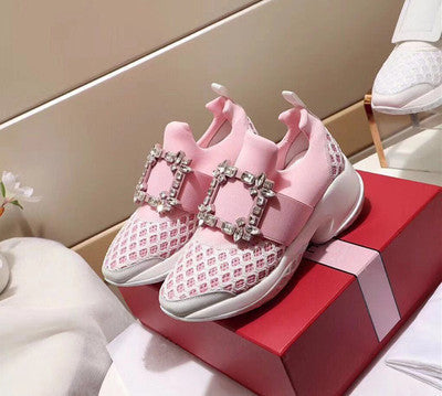 Genuine Leather Rhinestone Sneakers