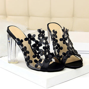 Open image in slideshow, Clear Block Heel Flower Sandals