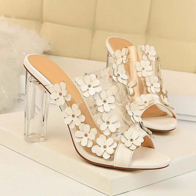 Clear Block Heel Flower Sandals