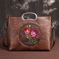 Embossed Genuine Leather Floral Tote