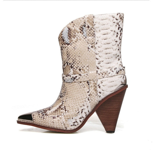Genuine Leather Snakeskin Ankle Boots