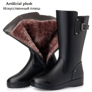 Open image in slideshow, Genuine Leather Wool Fur Boots