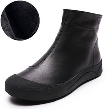 Load image into Gallery viewer, Genuine Leather Flat Ankle Boots