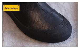 Genuine Leather Flat Ankle Boots