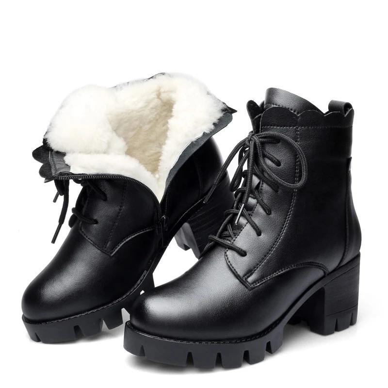 Genuine Leather Wool Fur Booties