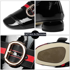 Leather Square Toe Shoes
