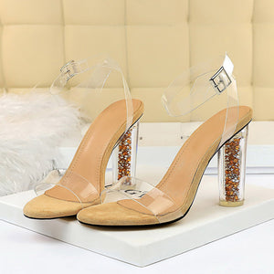 Transparent Glitter Heel Sandals