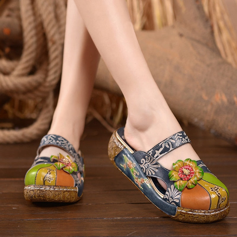 Printed Leather Vintage Slip On Shoes