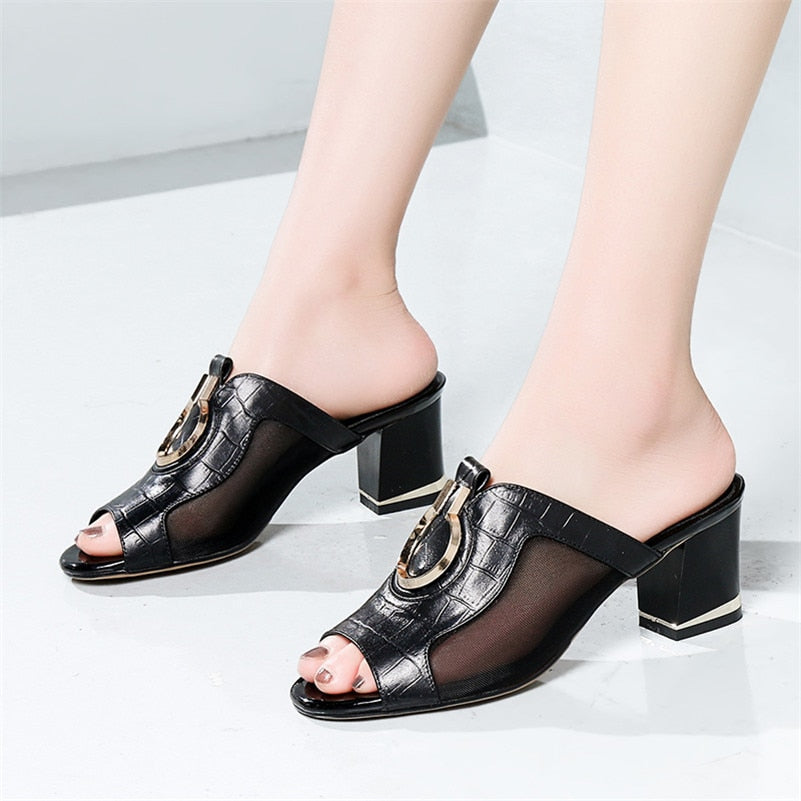 Genuine Leather Slipper Sandals