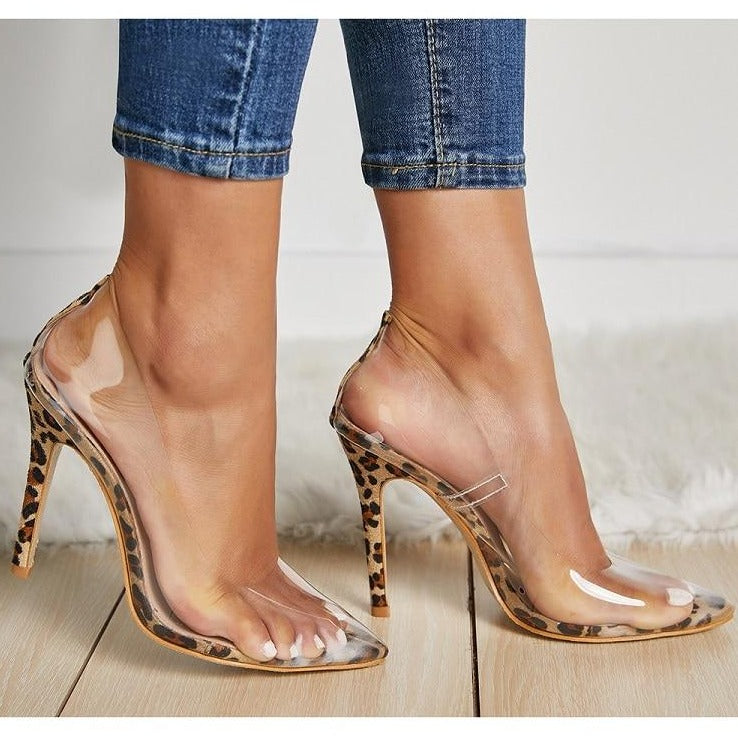Transparent Leopard Pumps