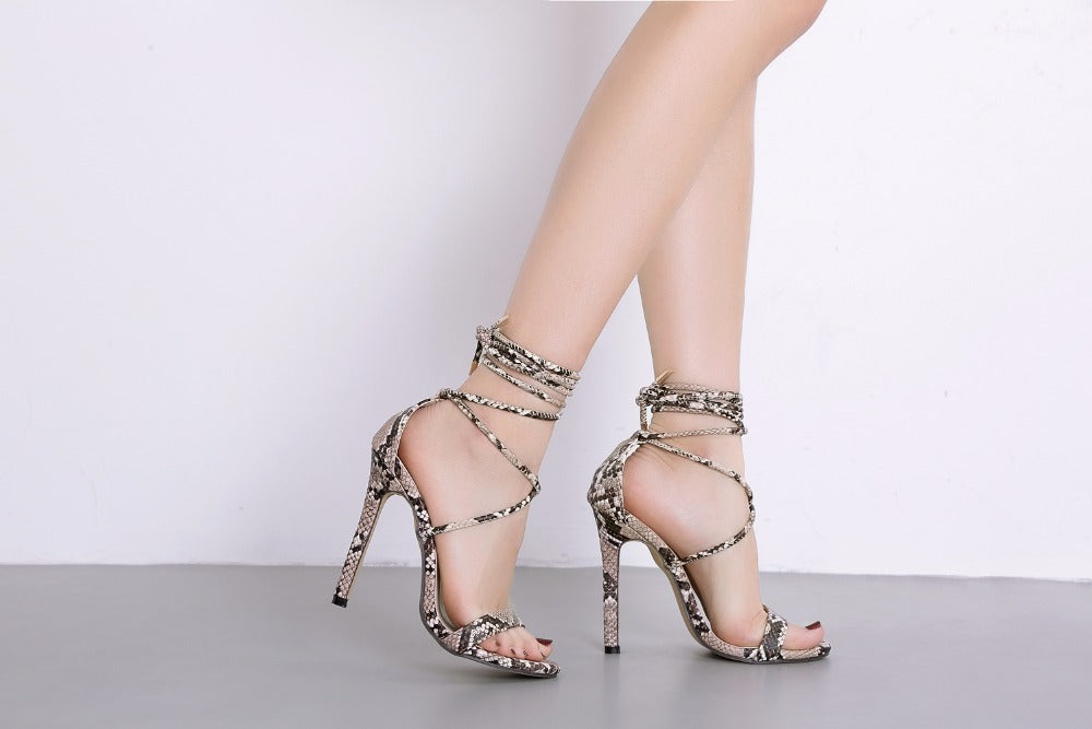 Lace-Up Snake Print Sandals