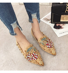 Rhinestone Pointed Toe Flats