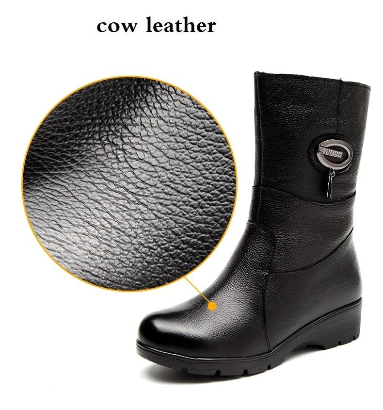 Genuine Leather Mid Calf Winter Boots