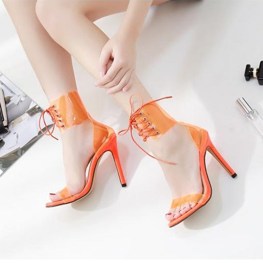 Jelly Lace-Up Open Toe Sandals