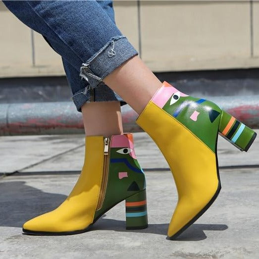 Pointed Toe Leather Ankle Boots