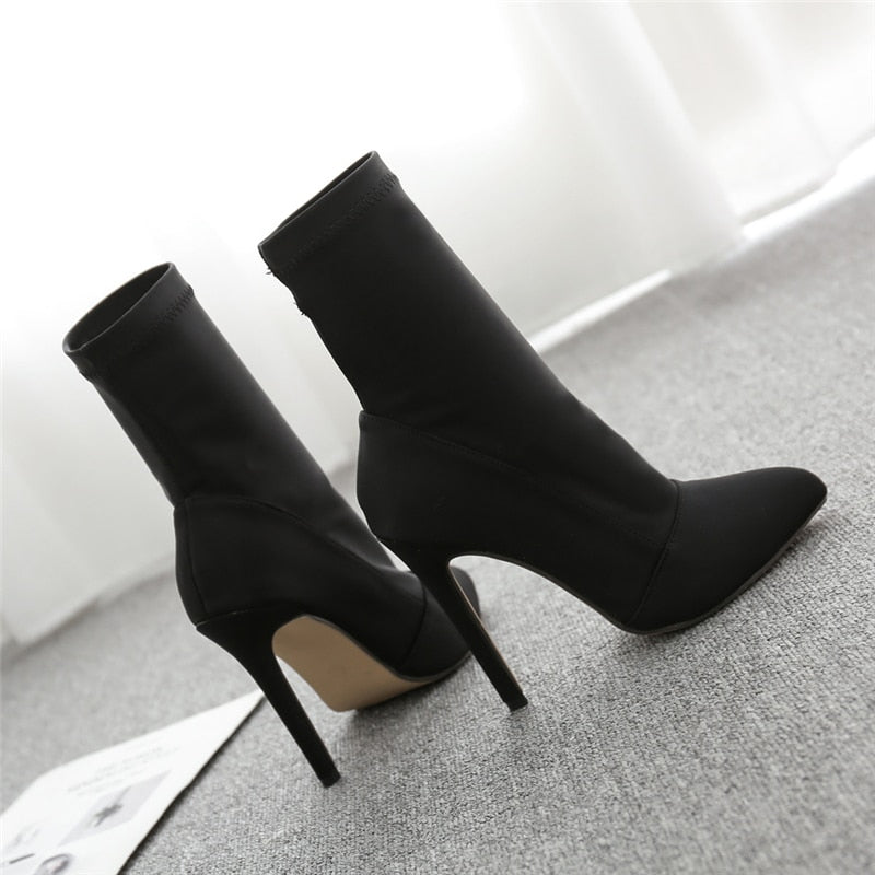 Stretch Sock Stiletto Boots