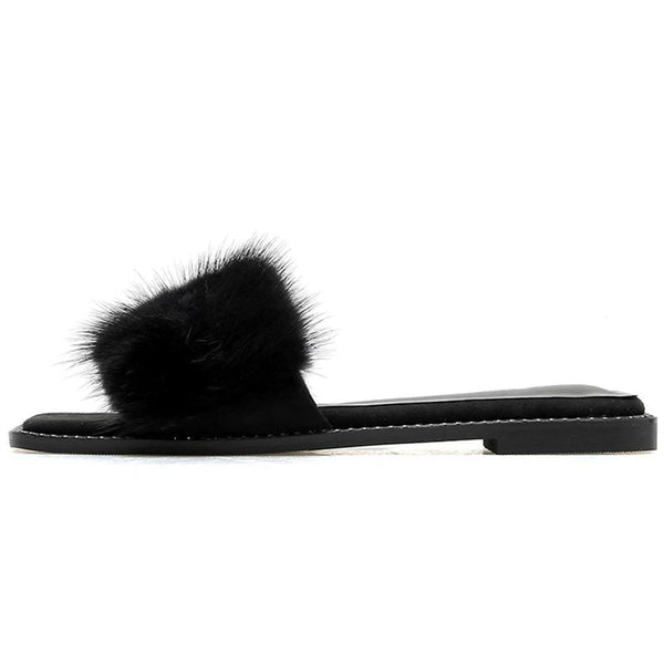 Open Toe Real Fur Flat Slippers