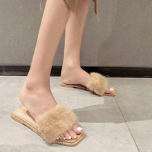 Load image into Gallery viewer, Open Toe Real Fur Flat Slippers