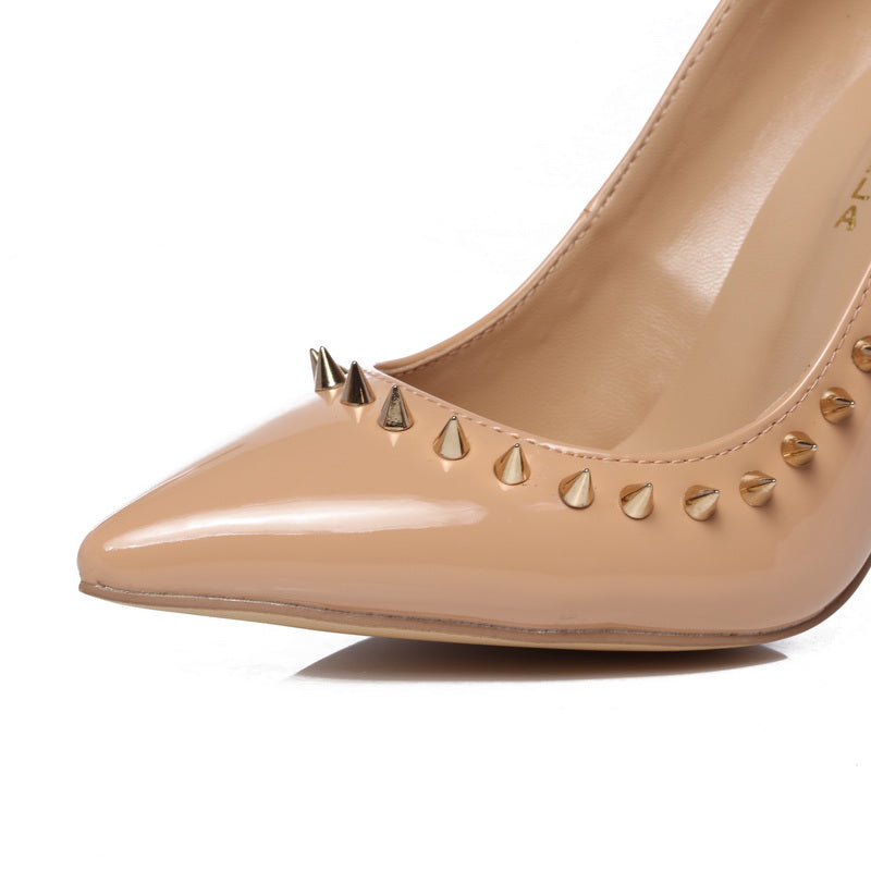 Genuine Leather Studded Pumps