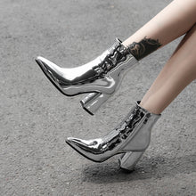 Load image into Gallery viewer, Metallic Mirror Pointed Toe Ankle Boots