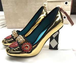 Leather Gold Flower Heels