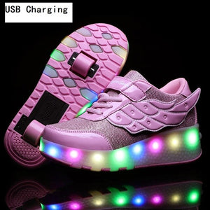 Open image in slideshow, LED Winged Roller Skate Sneakers