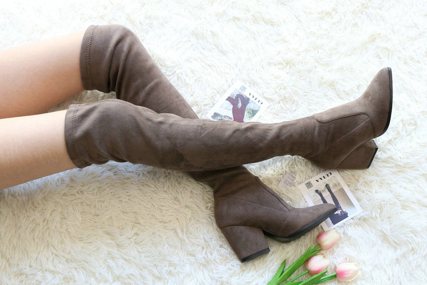 Over The Knee Hoof Heel Boots