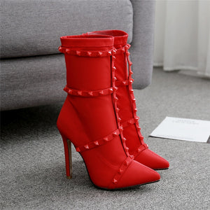 Silk Studded Stiletto Ankle Boots