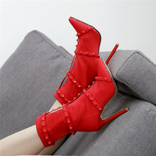 Load image into Gallery viewer, Silk Studded Stiletto Ankle Boots