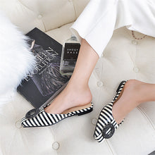 Load image into Gallery viewer, Square Heel Striped Slip-On Sandals