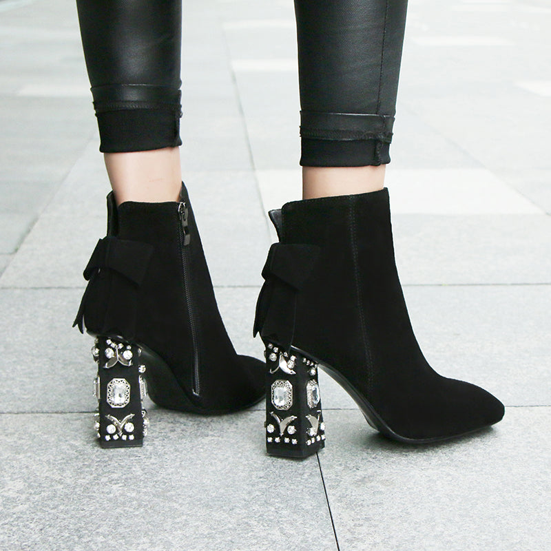 Genuine Suede Leather Booties
