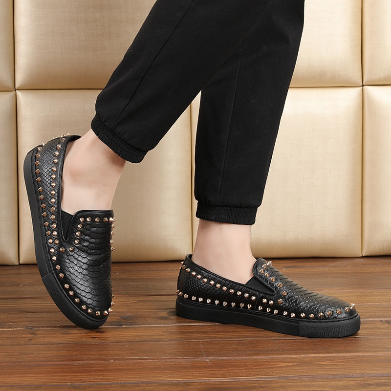 Genuine Leather Rivets Loafers
