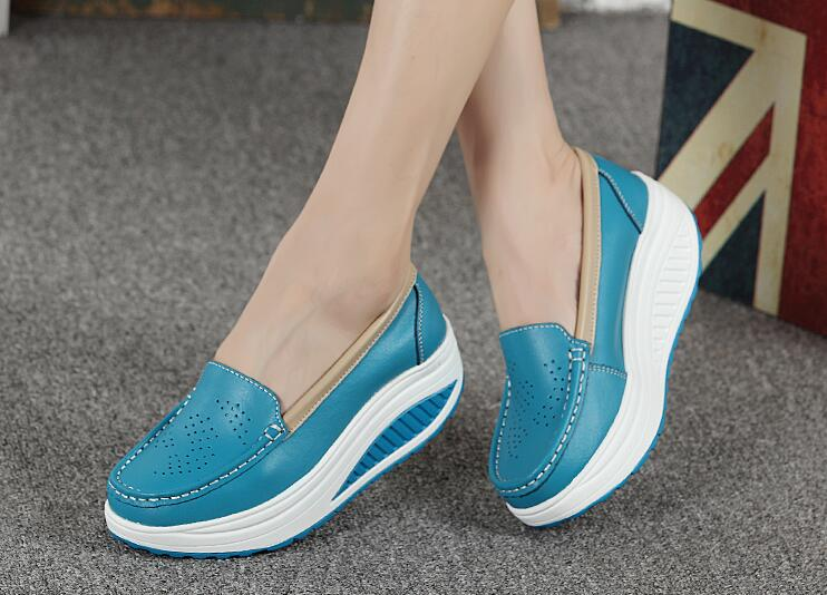 Genuine Leather Wedge Swing Shoes