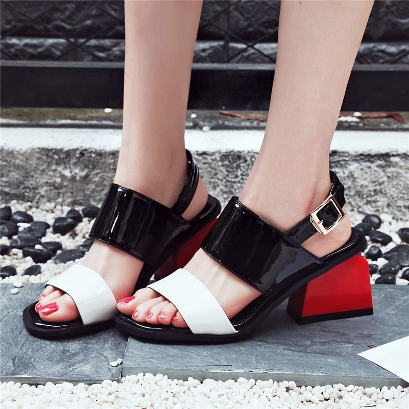 Genuine Leather Square Heel Sandals