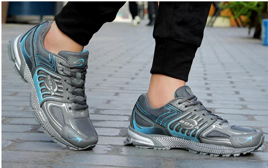 Leather & Mesh Running Jogging Sneakers