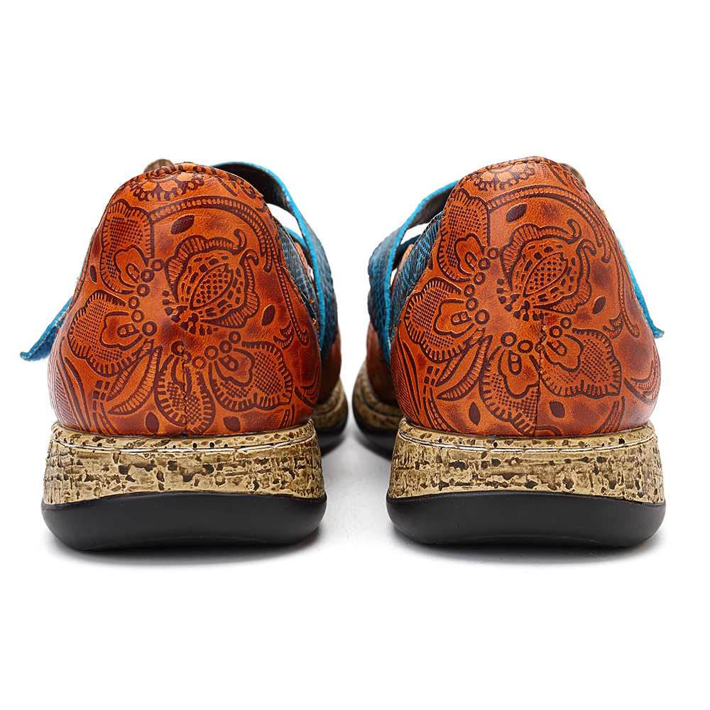 Genuine Leather Flower Flats