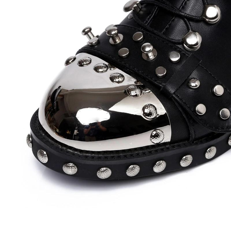 Genuine Leather Studded Boots