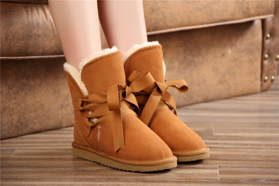 Genuine Leather Warm Snow Boots