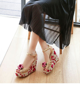 Leather Rose Wedge Sandals