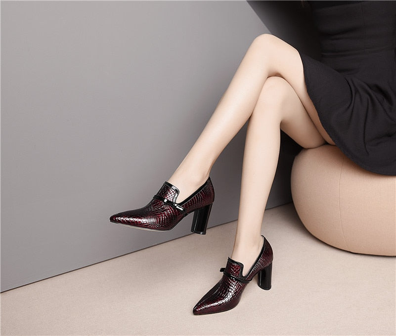 Genuine Leather Pointed Toe Heels