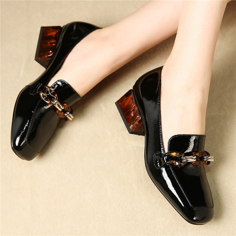 Genuine Leather Chain Loafers