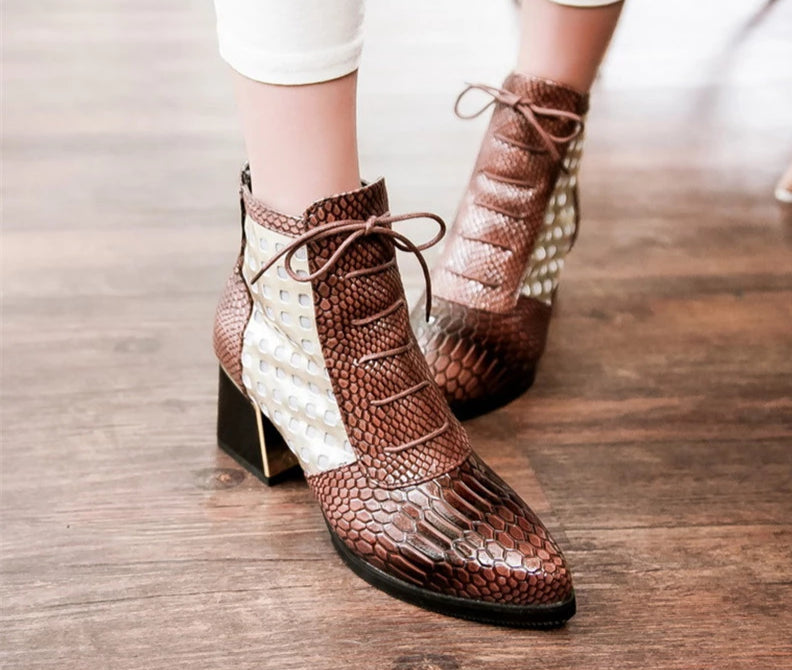 Two-Tone Ankle Boots
