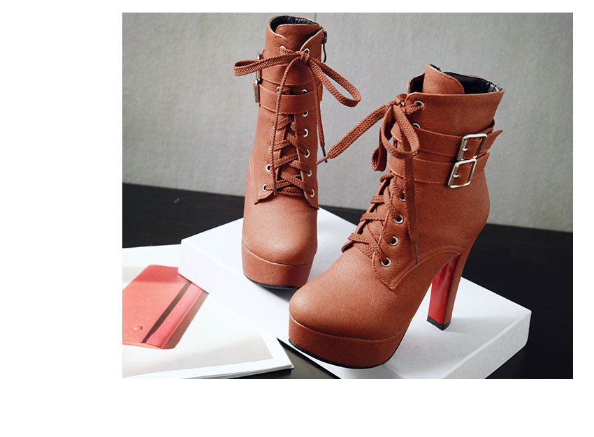 Buckle Strap Lace Up Booties