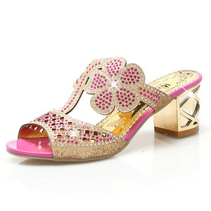Open image in slideshow, Flower Crystal Sandals